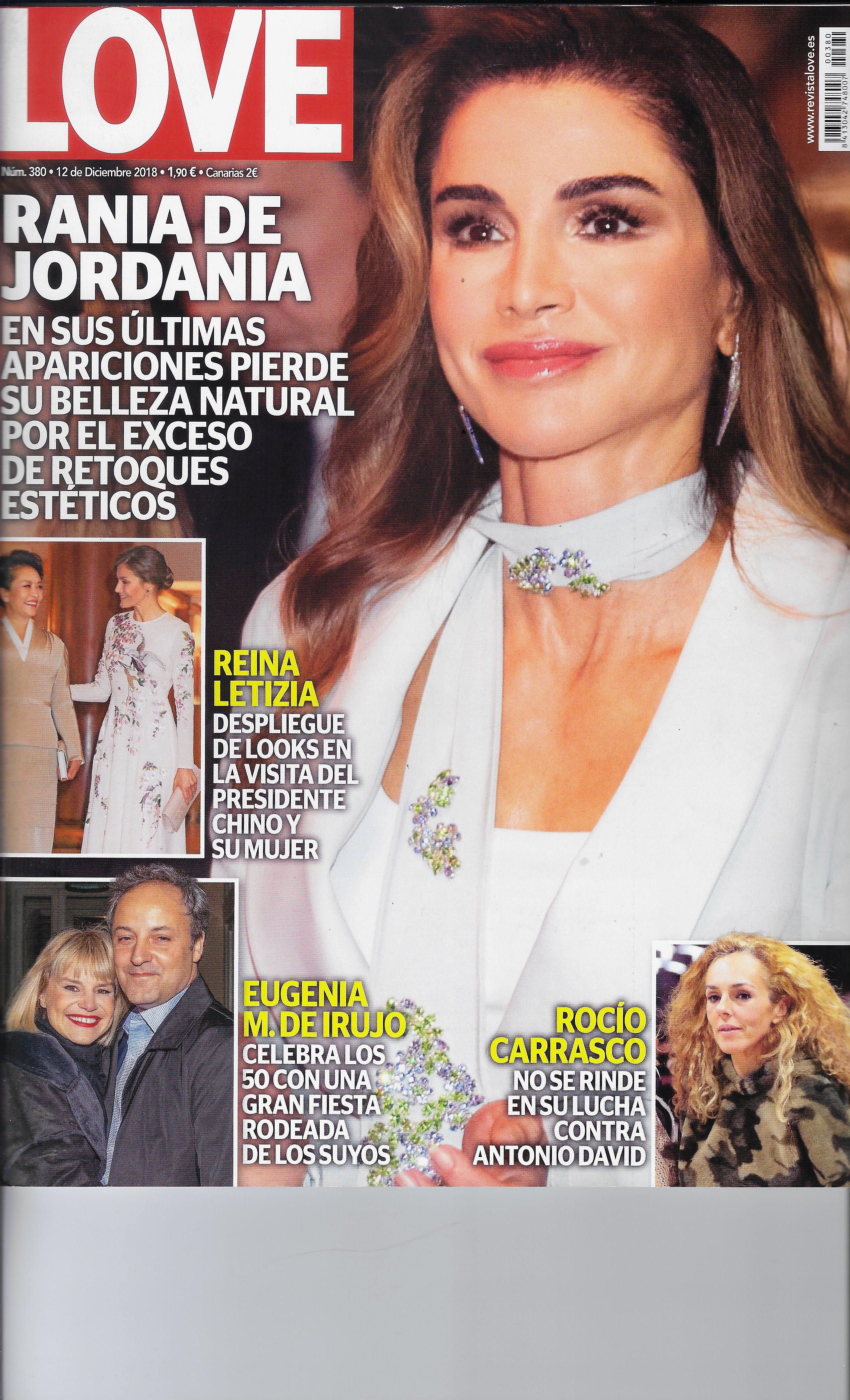 LOVE 12 de diciembre 2018 Rania de Jordania  María Serralta